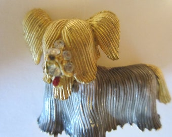 Vintage Shaggy Dog Brooch  - Rhinestones and Red Enamel On Face - Collectors Jewelry - Womens Fashion