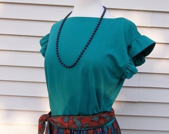 Women's Teen's 70s Vintage Boho Festival Dress With Gathered Ruffled Skirt and Teal Knit Bodice--junior size 13