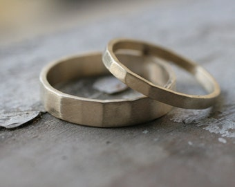 Hammered 14k Gold Matching Wedding Bands
