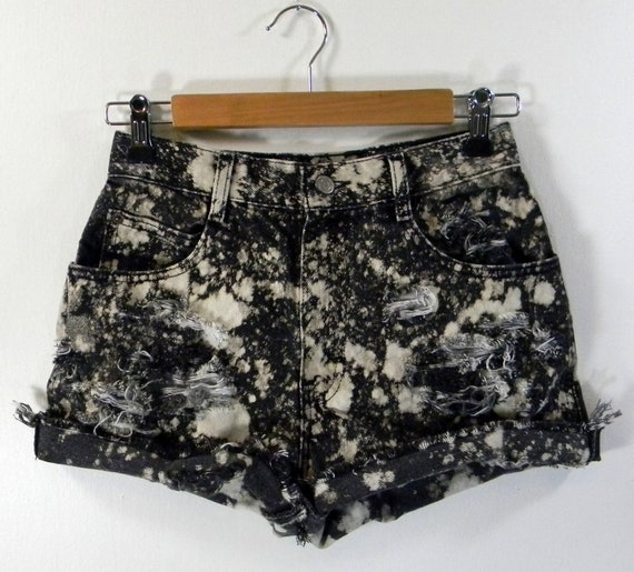 Nighttime Sparks High Waist Grunge Cut Off Jean Shorts Size 0