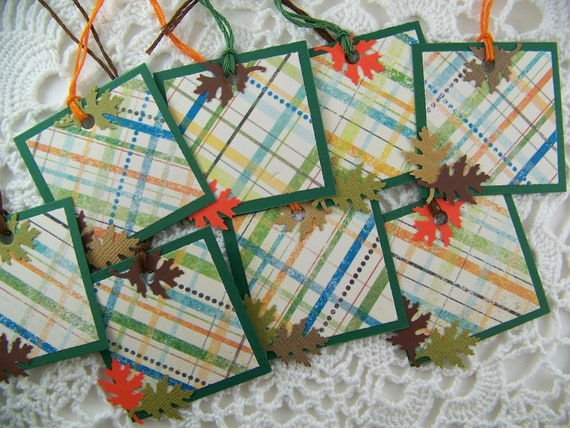 Fall Gift Tags Goody Bag Favor Label for Thanksgiving Autumn Set of 8
