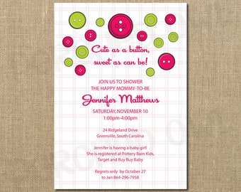 cute as a button baby shower invitation boy girl baby digital file