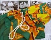 Vintage Scarf Emerald Green & Orange Lotus Flower Pattern
