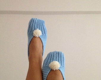 Baby blue with white pompom Healthy Booties Home slippers