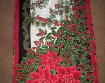 HAND QUILTED Christmas Poinsettia, Cardinal, Holly Wall Hanging