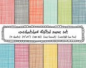 digital papers colorful crosshatch, linen digital backgrounds scrapbooking, textured photography backgrounds, bright happy colors - 397
