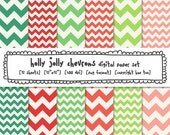 christmas chevron digital backgrounds, red green pink digital paper, holiday cards, digital photography background, festive holly jolly 419