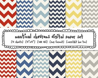 digital paper chevrons, chevron photography backgrounds, nautical summer boys, red white navy blue yellow gray, instant download - 381