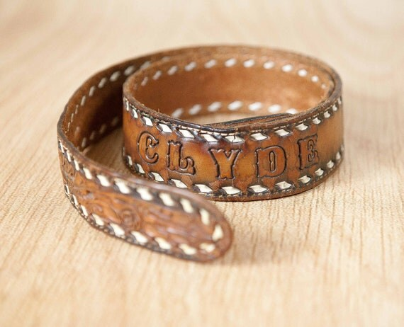 """Vintage Brown Tooled Leather Western Belt, with name stamped on back """"Clyde"""", size 34"""