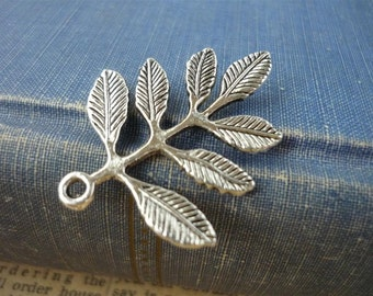 6 pcs Antique Silver Leaf Branch Charm Connector Pendants with back loop 32mm (SC669)