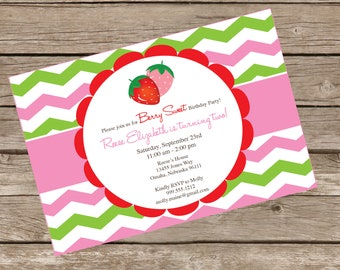 DIY Strawberry Invitation Kit - Invite AND Thank You Card included