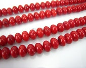 red coral rondell bead 8x5mm 15 inch strand