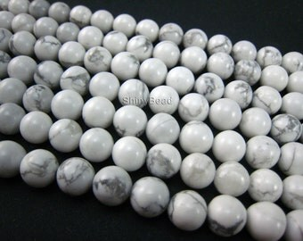 stone bead,howlite white round 8mm,15 inch strand
