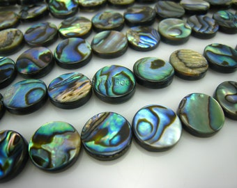 abalone shell flat coin bead 12mm 15 inch strand