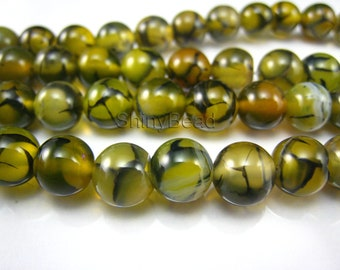 yellow dragon vein agate round bead 8mm 15 inch strand