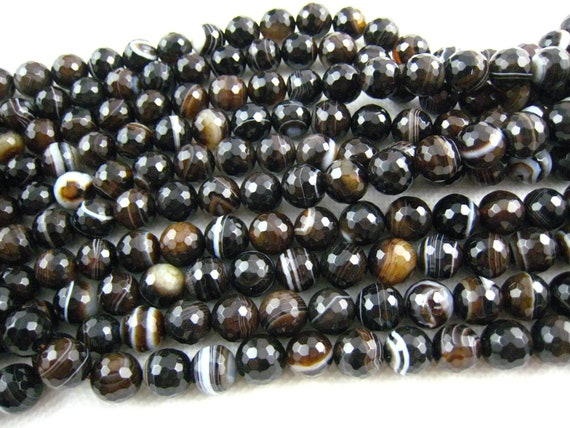 high quality  banded agate faceted round 10mm 15 inch strand
