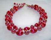 Vintage 1950's Double Strand Princess Faux Pearl Bead Necklace in Fushia Pink - Costume Jewelry