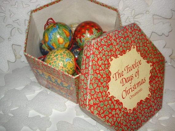 Vintage Twelve Days of Christmas Decorative Ball Ornaments with Collector Box