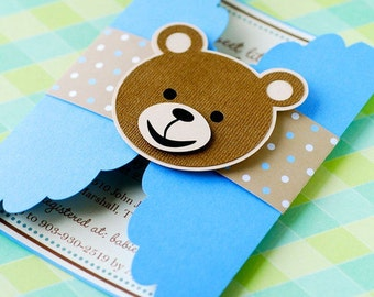 Teddy bear invite etsy gate fold teddy bear invitations personalized solutioingenieria Gallery