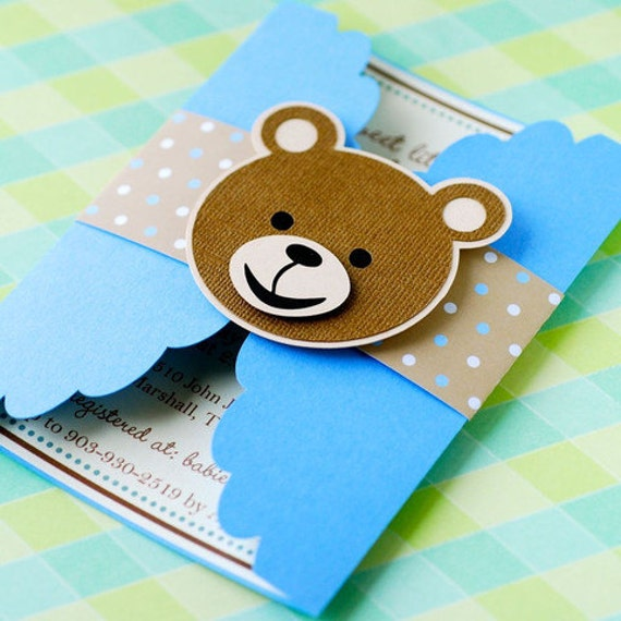Gate Fold Teddy Bear Invitations