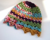 Crochet Cloche Hat Multicolored Anti Pilling Extra Small Young Adult Teen Girl