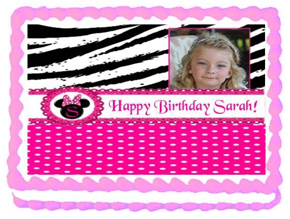 Zebra print and hot pink Cake Topper - 1/4 sheet Custom Design