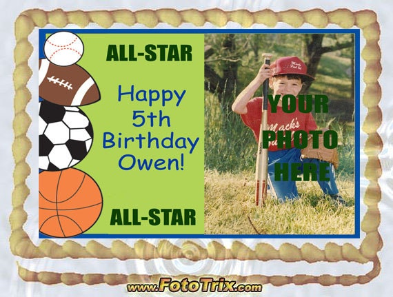 Design Your Own Sheet Cake : Kids Sports Cake Topper 1/4 sheet Custom Design by topAcake