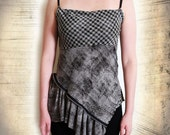Plaid Tank Top - Handmade Grey Deconstructed Zipper Asymmetrical Top, Small