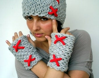 XXX Double Spirit Knit Set Hat and Gloves Super soft Mixed  wool Woman Set Hat and Fingerles Mittens