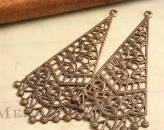 2 Pcs Vintage-Style Filigree Pendant - Vintaj Natural Brass Exclusive