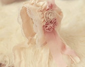 Ruffled newborn bonnet with dusty rose and creme accents and lace photography prop
