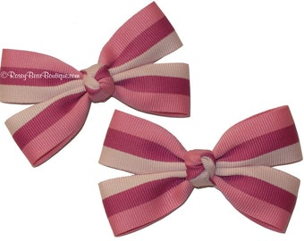 "Pink Multi Striped Hair Bow Clips - Set of Two - 3.5"" - RoseyBow® Hair Clip Set - Pink, Light Pink, Hot Pink Butterfly Bow Set"