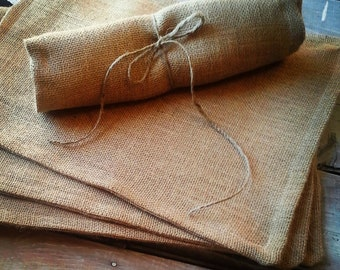 Set of 4- Burlap Placemats-Double Sided/Reversible-3 Colors Avail.-Natural-Brown-Off White-Rustic/Country/Folk Decor-Woodland