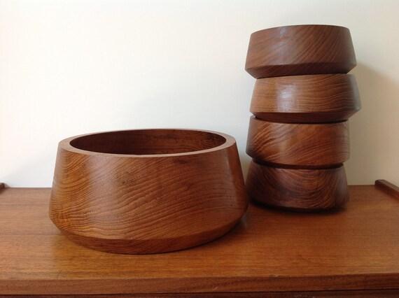 Mid Century Modern Teak Wooden Bowl Set