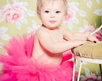 baby Headband- Baby Tutu-  Hot Pink Tutu Set with Matching White Shabby Flower Skinny Headband Newborn-5T sizes available Photography Prop