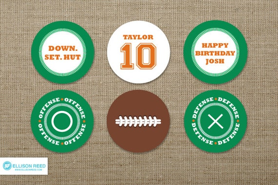 Football Printable - Football cupcake toppers - Football Birthday - printable party - Sports Birthday - tailgate - Football Watch Party