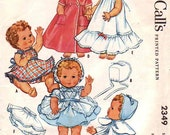Vintage 1959 Dolls McCalls Pattern 2349 For Dolls Wardrobe-Toddler and Baby Dolls Ginette-Betsy Wetsy-Tiny Tears-Dydee Baby