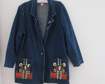 jean jacket southwest design Hunters Run. Size M use coupon code GOTTOGO for 30% off