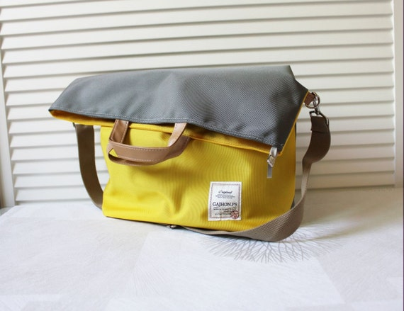 GJ20 Two Way Messenger Bag(Yellow&Grey)