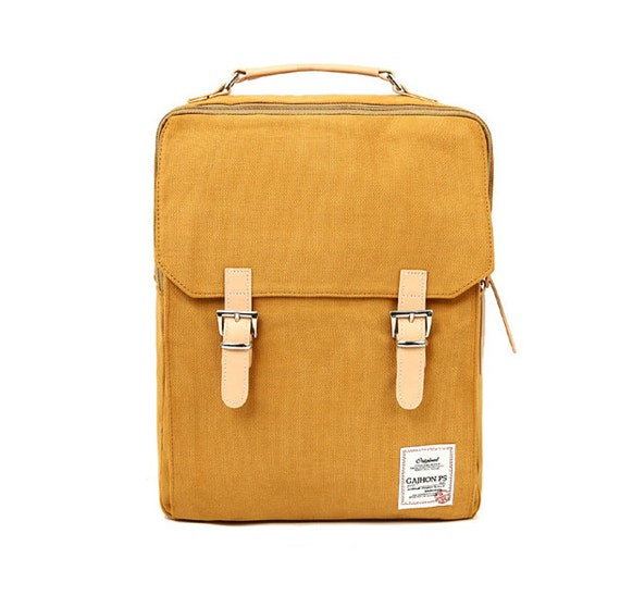 Cotton Square Backpack Mustard