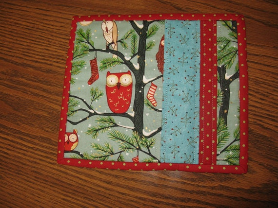 Christmas Owl Snack Mat Cookies for Santa Mug Rug Quilted Placemat