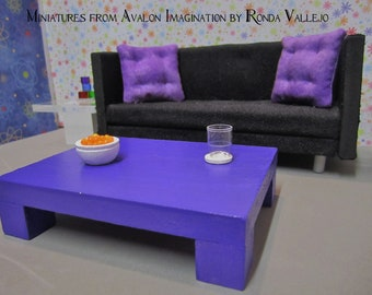 1:12 scale Modern Dollhouse Coffee Table in Purple - Shop by Color Decorating in Miniature