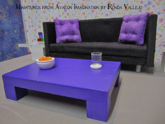 1 12 scale modern dollhouse coffee table in purple shop by for Purple coffee table