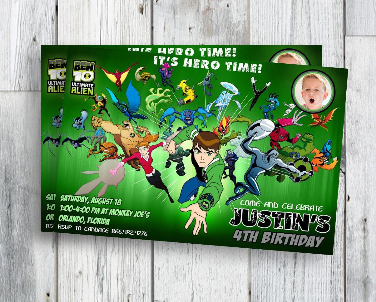 Ben 10 Birthday Invitations with Photo Boy Printable – Ben Ten Birthday Cards