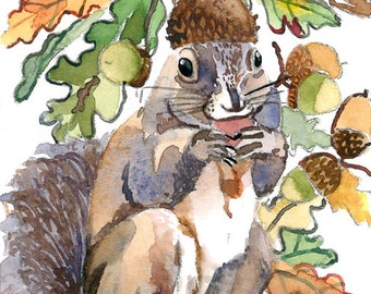 ACEO Limited Edition 2/25- A Squirrel's Favorite