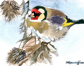 ACEO Limited Edition 1/25- Goldfinch and Sunflowers, in watercolor