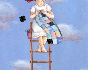 Sky Quilt, Art Print, Watercolor Art, Wall Art, Bedroom Decor, Girls Bedroom Art, Whimsical Art, Home Decor, Girls Gift, Quirky Art