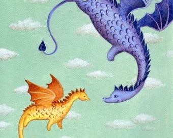 Dragons, First Flight art print from an original acrylics illustration by Irene Owens