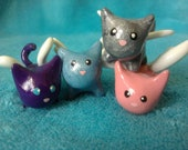 Flying Cats Kittens with Wings Polymer Clay Miniature
