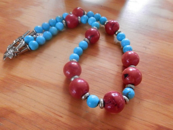 Native Inspired Turquoise,  Coral necklace, with elegant floral clasp
